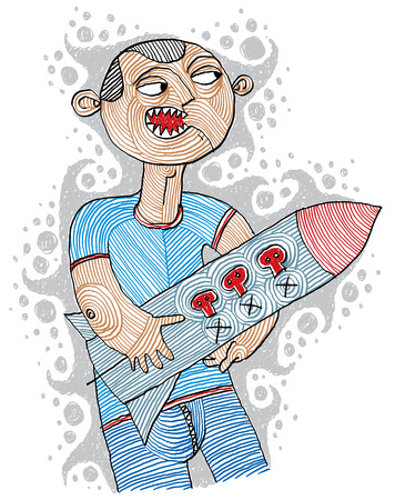 aggressor: Illustration of furious aggressor ready to launch holding a rocket. Angry terrorist with a missile conceptual drawing, war metaphor. Vector hand-drawn picture of radical activist. Illustration