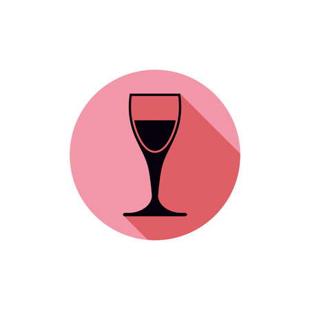 revelry: Alcohol theme icon, champagne goblet placed in a circle. Colorful restaurant brand emblem. Illustration