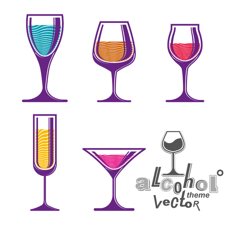 glass half full: Colorful glasses collection � martini, wine, cognac, whiskey and champagne. Alcohol theme eps8 creative illustrations. Entertainment elements, best for use in graphic and web design. Illustration