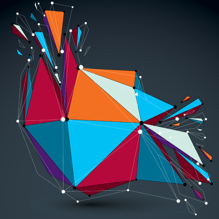 shatter: 3d vector low poly object with connected lines and dots, colorful digital technology wireframe shape with different particles. Asymmetric bright perspective shattered form.