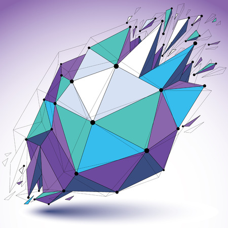 fragmentation: Vector dimensional colorful wireframe object, demolished low poly shape with fractures and wreckage. 3d mesh digital technology element broken into pieces. Illustration