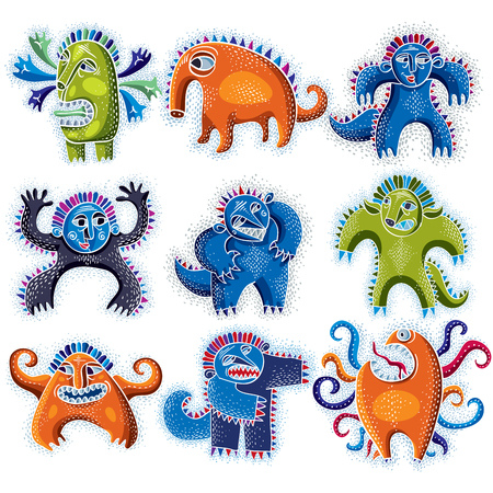 weird: Set of character monsters vector flat illustration, collection of cute mutants. Drawing of weird beast, emotional expression. Illustration