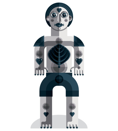 love image: Meditation theme vector illustration, drawing of a creepy creature made in modernistic style. Spiritual idol created in cubism style.