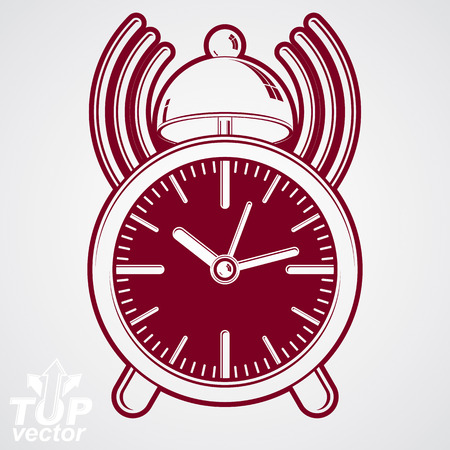 ticker: Alarm clock vector 3d illustration with podcast sign, classic wake up ticker. Graphic retro dimensional clock with clang bell � get up web design icon, waiter ringing symbol.