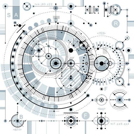 Desenho vetorial de tecnologia futura, papel de parede industrial. Ilustração gráfica do motor ou mecanismo.