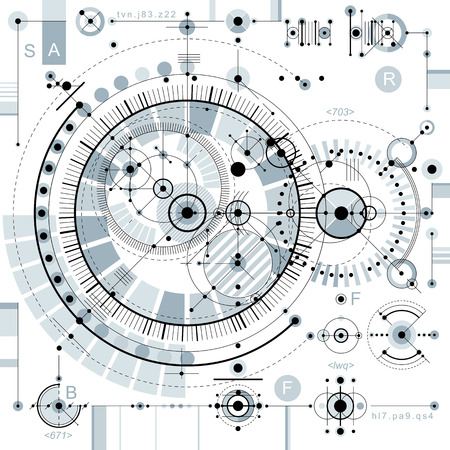 Technologie Future dessin vectoriel, fond d'écran industriel. Illustration graphique du moteur ou d'un mécanisme. Banque d'images - 51890693