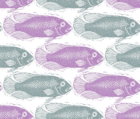 sea bass: Vector seamless pattern with fishes, different species. Underwater life theme wallpaper, for use in graphic design. Illustration