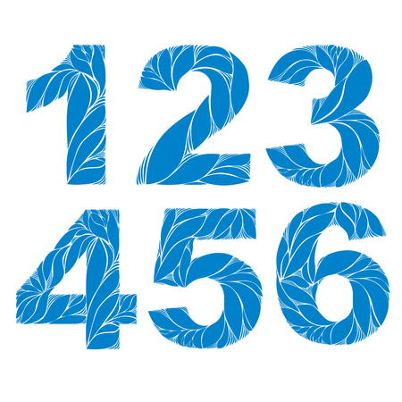 4 5: Blue elegant floral numbers, decorative digits with retro pattern. 1, 2, 3, 4, 5, 6.