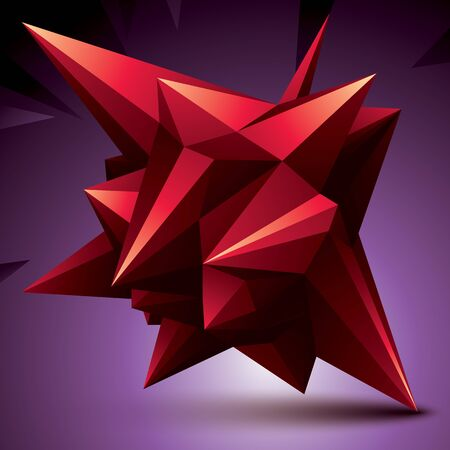 deformed: 3D vector abstract design object, polygonal complicated figure. Red deformed shape, render.