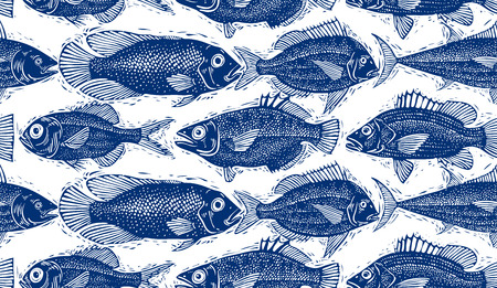 aqua: Seamless vector sea pattern, different fish silhouettes. Hand drawn fauna wallpaper, aqua nature continuous background.
