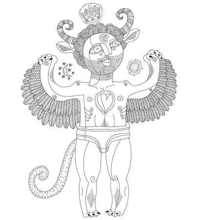 nudity: Vector hand drawn graphic monochrome illustration of weird creature, cartoon nude man with wings, animal side of human being. Idol concept, alpha male allegory drawing. Illustration
