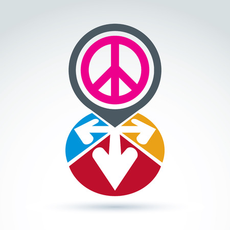 harmony idea: Vector conceptual love and peace sign, colorful arrows in the shape of hearts. Freedom and harmony idea.