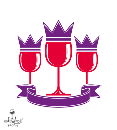 sophisticated: Sophisticated luxury wineglasses with king crown, graphic artistic vector goblets collection. Three full glasses of red wine vector illustration, eps8. Illustration