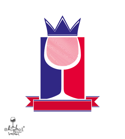 coronet: Royal decorative symbol with monarch crown and curved ribbon, art goblet best for use in graphic design. Imperial coat of arms � stylized coronet, wineglass illustration.