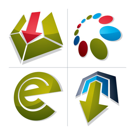 graphical user interface: Set of abstract vector geometric symbols, 3d unusual e symbol, special arrows. Innovation and technology conceptual icons isolated on white background. E-mail, internet design elements. Illustration