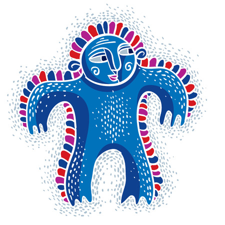 weird: Vector cool cartoon silly monster, simple weird creature. Clipart mythic character for use in graphic design and as mascot. Illustration