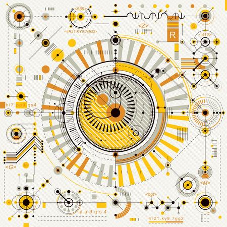 Mechanische regeling, vector technische tekening met geometrische delen van het mechanisme. Futuristische industrieel project kunnen worden gebruikt in web design en als achtergrond.