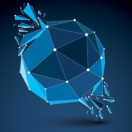 refractions: Vector dimensional wireframe luminescent object with blue connected lines, spherical demolished shape with refractions and wreckage. 3d mesh global technology element broken into pieces.