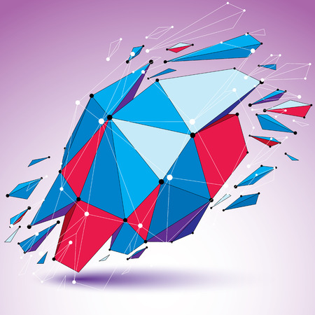design objects: 3d vector low poly digital object with connected lines and dots, colorful geometric wireframe shape with different fractures. Asymmetric perspective shattered form.
