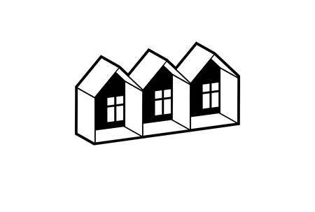 Eenvoudige zwart-wit cottages vector illustratie, zwart en wit landhuizen, voor gebruik in de grafische vormgeving. Onroerend goed concept, regio of wijk thema. Projectontwikkelaar abstract corporate image. Vector Illustratie