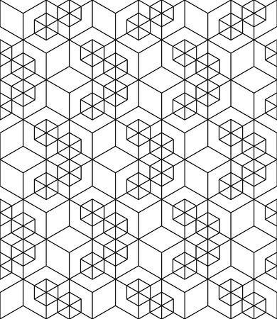 rhomb: Rhythmic contrast textured endless pattern with cubes, continuous black and white geometric background.