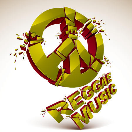 facet: Green 3d vector shattered peace sign with specks and refractions. Dimensional facet design demolished symbol isolated on white. Reggae music theme