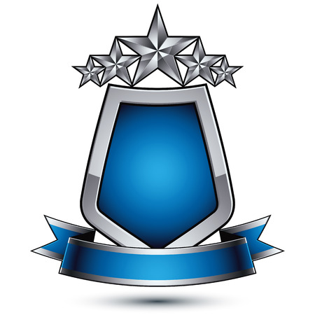 renown: Renown vector silver star with wavy ribbon placed on a protection shield, 3d sophisticated pentagonal design element, clear EPS 8 emblem. Illustration