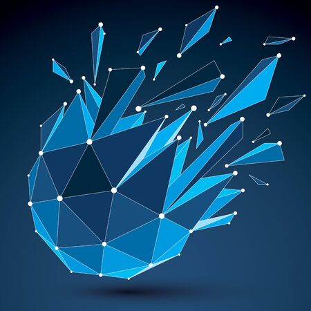 luminescent: 3d vector digital wireframe object broken into different particles and refractions, geometric polygonal structure with blue lines mesh. Low poly shattered shape with luminescent effect.