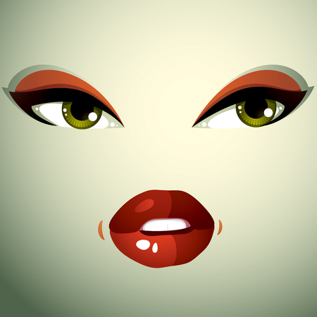 countenance: Face makeup, lips and eyes of an attractive woman displaying anger. Facial emotional expression.