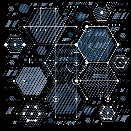 hexagon background: Technical plan, engineering draft. Vector drawing of industrial system with mechanical parts, for use in graphic and web design.