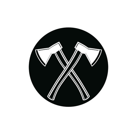 hatchet: Two sharp axes crossed. Woodcutter tool, vector hatchet symbol isolated on white. Lumberjack instrument icon, can be used in advertising and design.