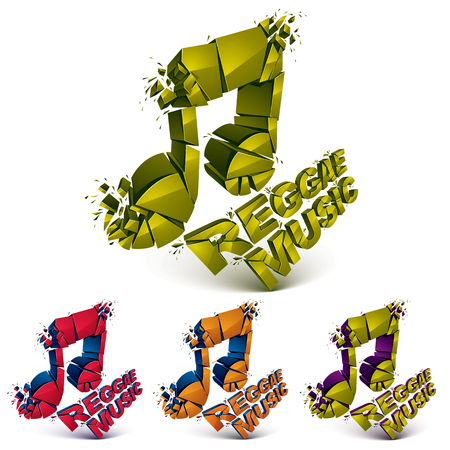 shatter: Collection of 3d vector musical notes created from refractions isolated on white. Set of colorful three-dimensional transform music theme design elements. Reggae music theme