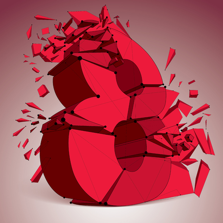 Abstract 3d red faceted number 8 with connected black lines and dots. Vector low poly shattered design element with fragments and particles. Explosion effect.