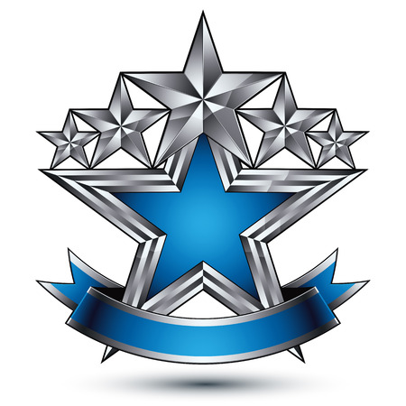 silver star: Vector stylized symbol isolated on white background.  Glamorous silver star, clear EPS 8, five stars insignia with a curvy band. Illustration