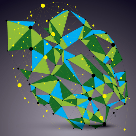 complicated: Vector complicated 3d figure, modern digital technology style form. Colorful abstract lattice futuristic design. Illustration