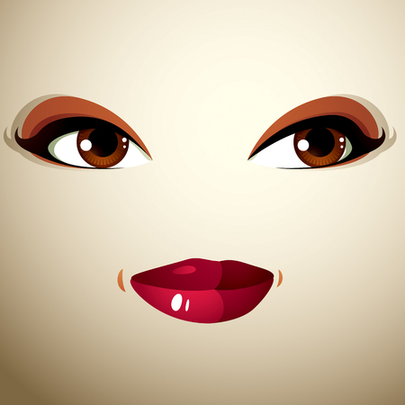 countenance: Coquette glad smiling woman eyes and lips, stylish makeup. People positive facial emotions, happiness.