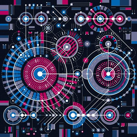 lines background: Future technology vector drawing, industrial wallpaper. Graphic illustration of engine or mechanism. Illustration