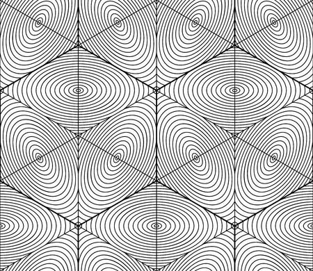interweave: Contrast black and white symmetric seamless pattern with interweave figures. Continuous geometric 3d composition, for use in graphic design.