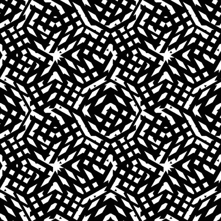 never ending: Geometric messy lined seamless pattern, black vector endless background. Decorative net splicing motif texture.