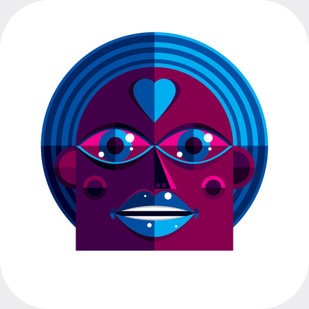 modernistic: Avant-garde avatar, personality face created in cubism style. Modernistic geometric portrait, multicolored vector illustration of facial expression.
