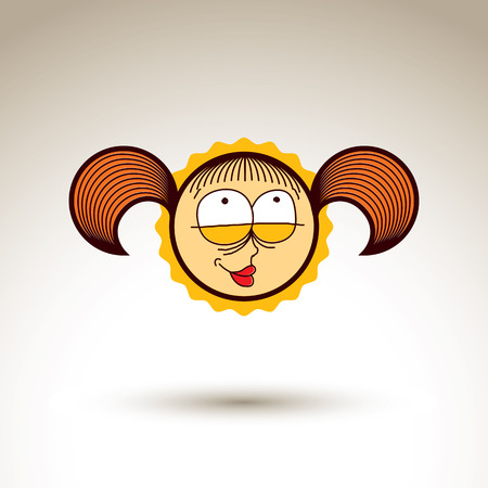 hairdo: Vector hand drawn happy smiling girl with fashionable hairdo. Facial expression theme graphic element isolated. Social conversation idea cartoon drawing. Illustration