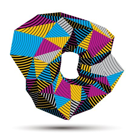 modeling: Asymmetric 3D abstract striped object, colorful geometric vector spatial form. Render and modeling.