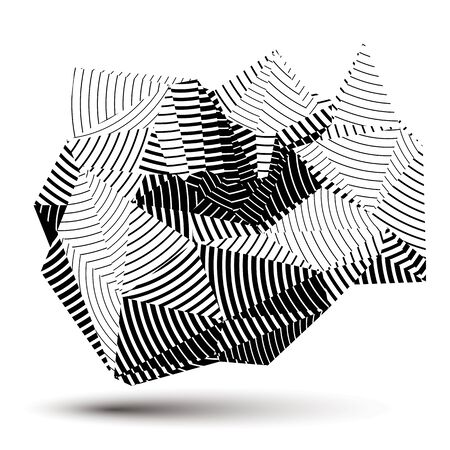 complicated: Complicated abstract grayscale 3D striped shape, vector digital object. Technology theme.