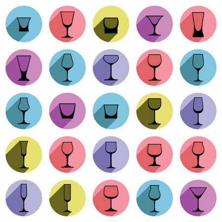champagne glasses: Drinking glasses collection, martini, wineglass, cognac, whiskey and champagne. Alcohol theme simple vector illustrations, lifestyle design elements. Different goblets.