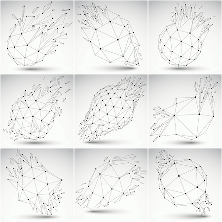 demolished: Set of low poly demolished shapes with black connected lines and dots, polygonal wireframe objects. Explosion effect, perspective faceted elements cracked into fragments. Communication technology. Illustration