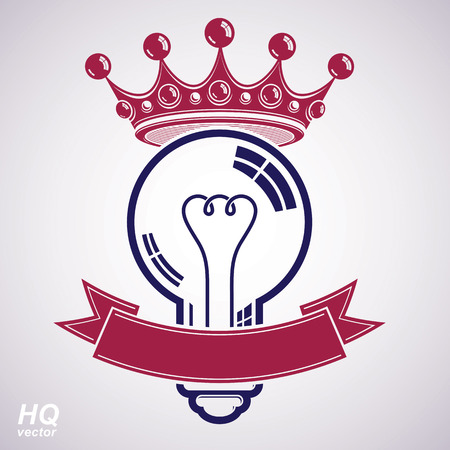 best idea: Electricity light bulb symbol with crown, insight emblem. Vector royal conceptual icon. Best idea award icon with curvy ribbon. Brilliant idea graphic web design element.