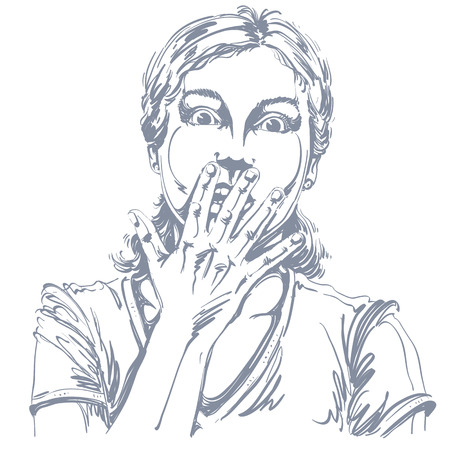 impressed: Graphic vector hand-drawn illustration of white skin impressed lady gesturing with hands. People face expressions. Terrified girl portrait.
