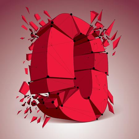 視点技術は、黒の線とドット接続された、多角形のワイヤ フレームのフォントのゼロの数を破壊されました。爆発効果、複数のフラグメントにひび