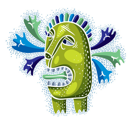 alien cool: Vector cool cartoon crazy green monster, single weird creature. Clipart mythic character for use in graphic design and as mascot.