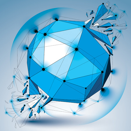 facet: Perspective digital technology shattered shape with black lines and dots connected, polygonal wireframe blue object with lens circles. Explosion effect, abstract facet element cracked into fragments.